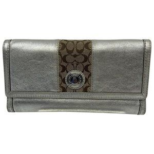 Coach Silver Leather Tri Fold Wallet